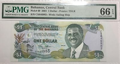 *2nd Finest Known* P- 69 2001 Bahamas 1 Dollar Central Bank PMG 66 EPQ