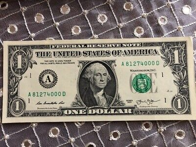 """TRAILING ZERO's """"000"""" in $1 Dollar Bill with FANCY UNIQUE SERIAL NUMBER NOTES"""