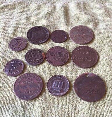 Antique Mixed Lot of ADVERTISING TOKENS COINS BADGES-DUG METAL DETECTING FINDS