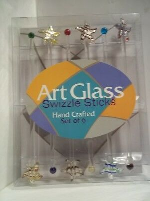 Art Glass set of 6 cocktail Star Fish Swizzle Sticks in original package
