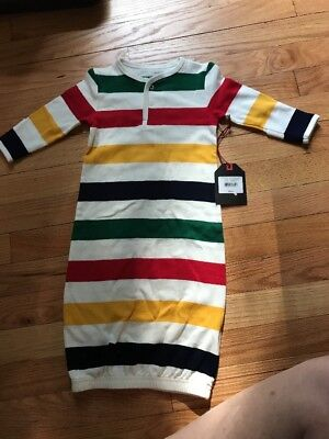 New W/Tags Hudson Bay Co. Baby Unisex Striped 100%Cotton Infant Gown MSRP $35.00