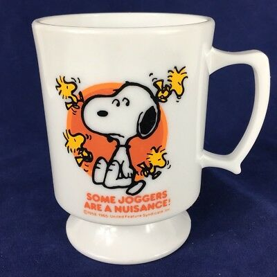 Vintage Snoopy Peanuts Woodstock Coffee Mug Some Joggers Are A Nuisance plastic
