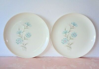 """TST Taylor Smith Taylor BOUTONNIERE 2 Dinner Plates 10 1/8"""" Blue Bachelor Button"""
