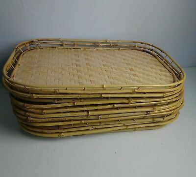 Vintage Wicker Rattan Bamboo Large Serving Trays Lot of 10
