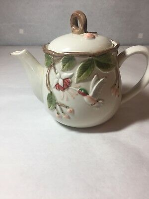 Vintage Ceramic Otagiri Hand-crafted teapot with floral and hummingbird design