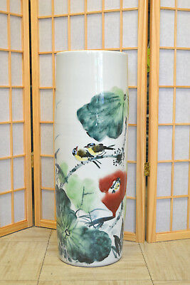 Asian Chinese Porcelain Umbrella Stand Holder w/Hand Painted Lotus & Bird 721b