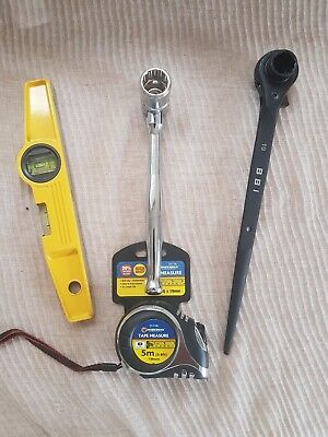 Heavy Duty Scaffold Tools Set Black 1921 mm Ratchet 7/16 Spanner Level Tape