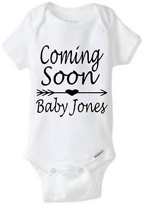 Coming Soon Baby Name Custom One Piece Bodysuit Baby Shower Gift Pregnancy