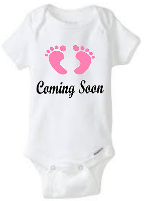 Custom One Piece Bodysuit Baby Shower Gift Pregnancy Announcement Coming Soon