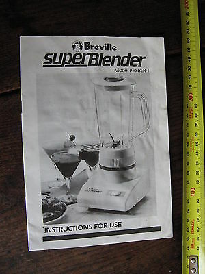 Breville Super Blender Instructions