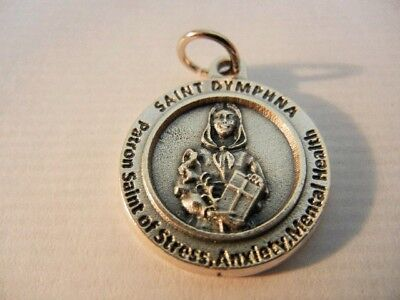 """St. Dymphna Medal Patron Anxiety, Mental Health & Stress New!  Italy  3/4"""" round"""