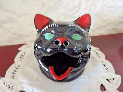 Wembley Ware Black Novelty Cat Ashtray Smoke Comes Out Nose Quirky Piece VGC