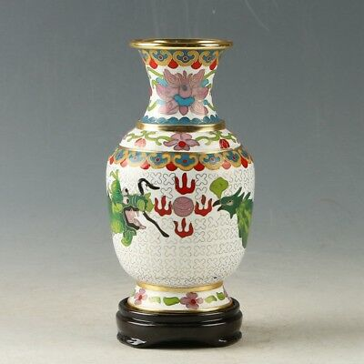 Exquisite Chinese Cloisonne Hand Painted Dragon Phoenix Vase