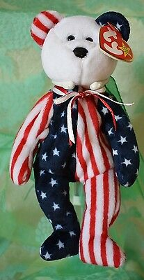 #11 Vtg Spangle (white face) 1999 Bear TY Beanie Babies has tag  collectible toy