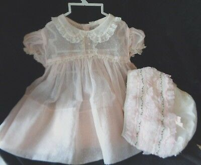 Vintage Babe Frock Sheer Pale Pink Swiss Dot Baby Doll Dress Diaper Cover Lace