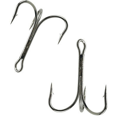 30pcs O'Shaughnessy Treble Hook Stainless Steel Sharp Treble Hooks 4/0 -10/0
