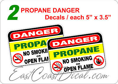 "2 DANGER  PROPANE 5"" x 3.5"" DECAL STICKERS. UV EXT or INT + FREE SHIPPING NEW"