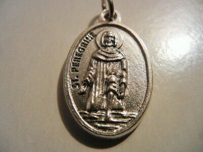 """St. Peregrine 1"""" Oval Medal  """"Pray For Us""""  on reverse       NEW! MADE IN ITALY"""
