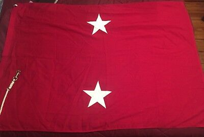 Vintage * Major General Flag USMC * 2 Star * Rope and Snap Heading * Vietnam War
