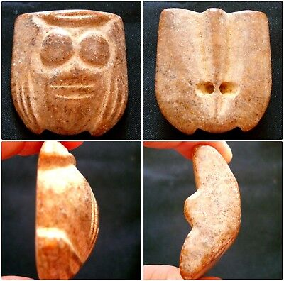 Rare Ancient Stone Bead Huge Phoenician Human Face Mosaic Glass Pendant 300 BC