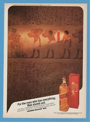 1985 Johnnie Walker Red Label Egyptian Theme Hieroglyphics Pharaoh Print Ad
