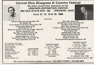 1986 Central OH Bluegrass Fest George Jones Wilma Lee Cooper & More Lebanon Ad