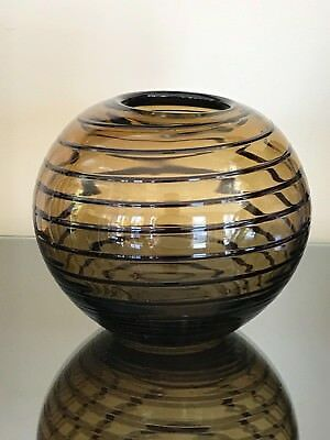GLASS SPHERE / ROUND VASE amber with black accents