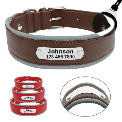 Personalized Dog Collar Reflective Leather ID Collars for Medium Large Dogs
