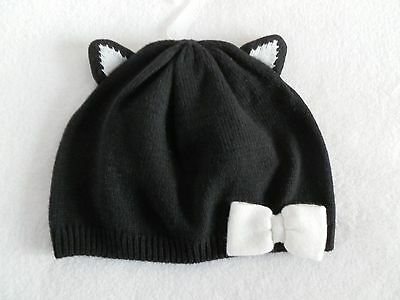 NEW Gymboree City Kitty Black Cat Beanie Sweater Hat Toddler Girl 2T-3T