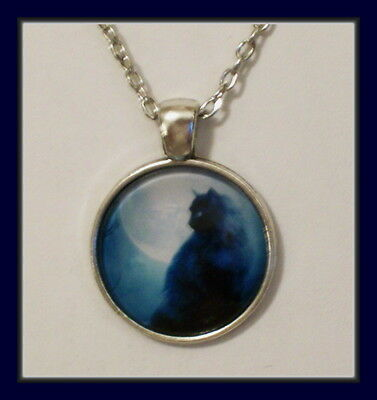 Vintage Cat Silver Plated Glass Pendant - Black Cat In Mist With Silver Chain