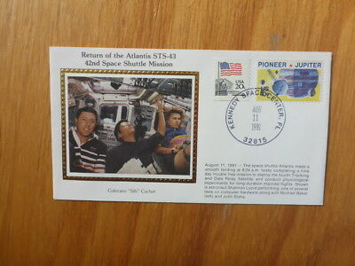 Vintage Usa Colorano Silk Illustrated Space Fdc - Atlantis Sts-43 Landing