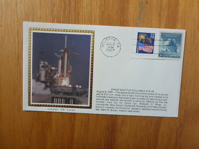 Vintage Usa Colorano Silk Illustrated Space Fdc - Columbia Sts-28 Launch