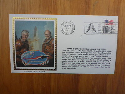 Vintage Usa Colorano Silk Illustrated Space Fdc- Shuttle Columbia Final Test