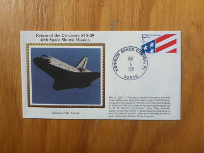 Vintage Usa Colorano Silk Illustrated Space Fdc - Discovery Sts-39 Shuttle Land