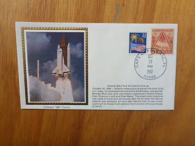 Vintage Usa Colorano Silk Illustrated Space Fdc - Atlantis Sts-34 Launch