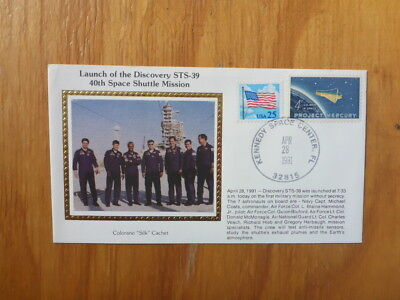 Vintage Usa Colorano Silk Illustrated Space Fdc - Discovery Sts-39 Crew