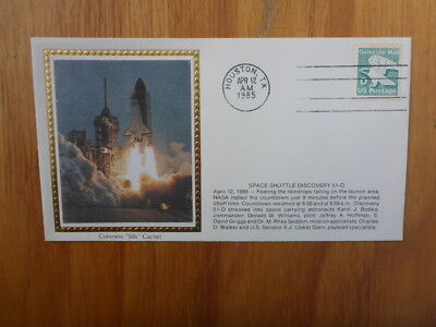 Vintage Usa Colorano Silk Illustrated Space Fdc - Shuttle Discovery 51-D Launch