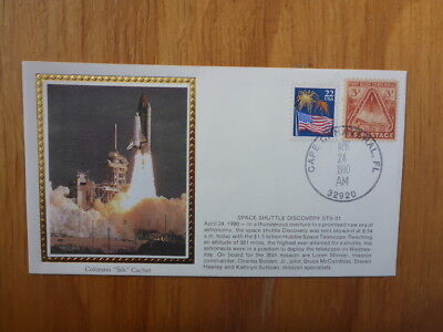 Vintage Usa Colorano Silk Illustrated Space Fdc - Discover Shuttle Sts-31 Launch