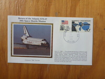 Vintage Usa Colorano Silk Illustrated Space Fdc - Atantis Sts-37 Shuttle Land