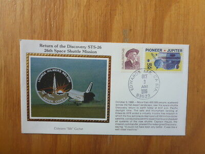 Vintage Usa Colorano Silk Illustrated Space Fdc - Discovery Sts-26 Shuttle