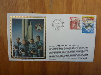 Vintage Usa Colorano Silk Illustrated Space Fdc- Columbia Sts-5 Crew