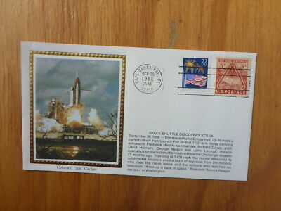 Vintage Usa Colorano Silk Illustrated Space Fdc - Space Discover Sts-26 Launch