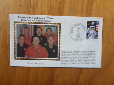Vintage Usa Colorano Silk Illustrated Space Fdc - Endeavour Sts-68 Crew