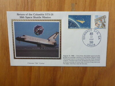Vintage Usa Colorano Silk Illustrated Space Fdc - Columbia Sts-28 Shuttle