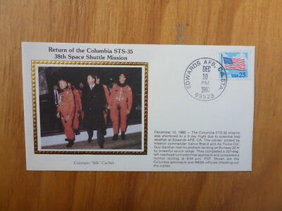 Vintage Usa Colorano Silk Illustrated Space Fdc - Columbia Sts-35 Mission Return