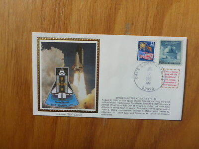 Vintage Usa Colorano Silk Illustrated Space Fdc - Atlantis Sts-43 Launch