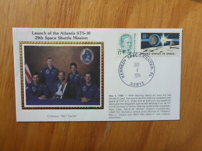Vintage Usa Colorano Silk Illustrated Space Fdc - Atlantis Sts-30 Crew
