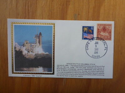 Vintage Usa Colorano Silk Illustrated Space Fdc - Columbia Sts-32 Launch