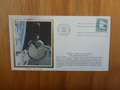 Vintage Usa Colorano Silk Illustrated Space Fdc - Telesat-A Deployed