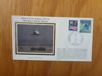 Vintage Usa Colorano Silk Illustrated Space Fdc - Atlantis Sts-36 Shuttle